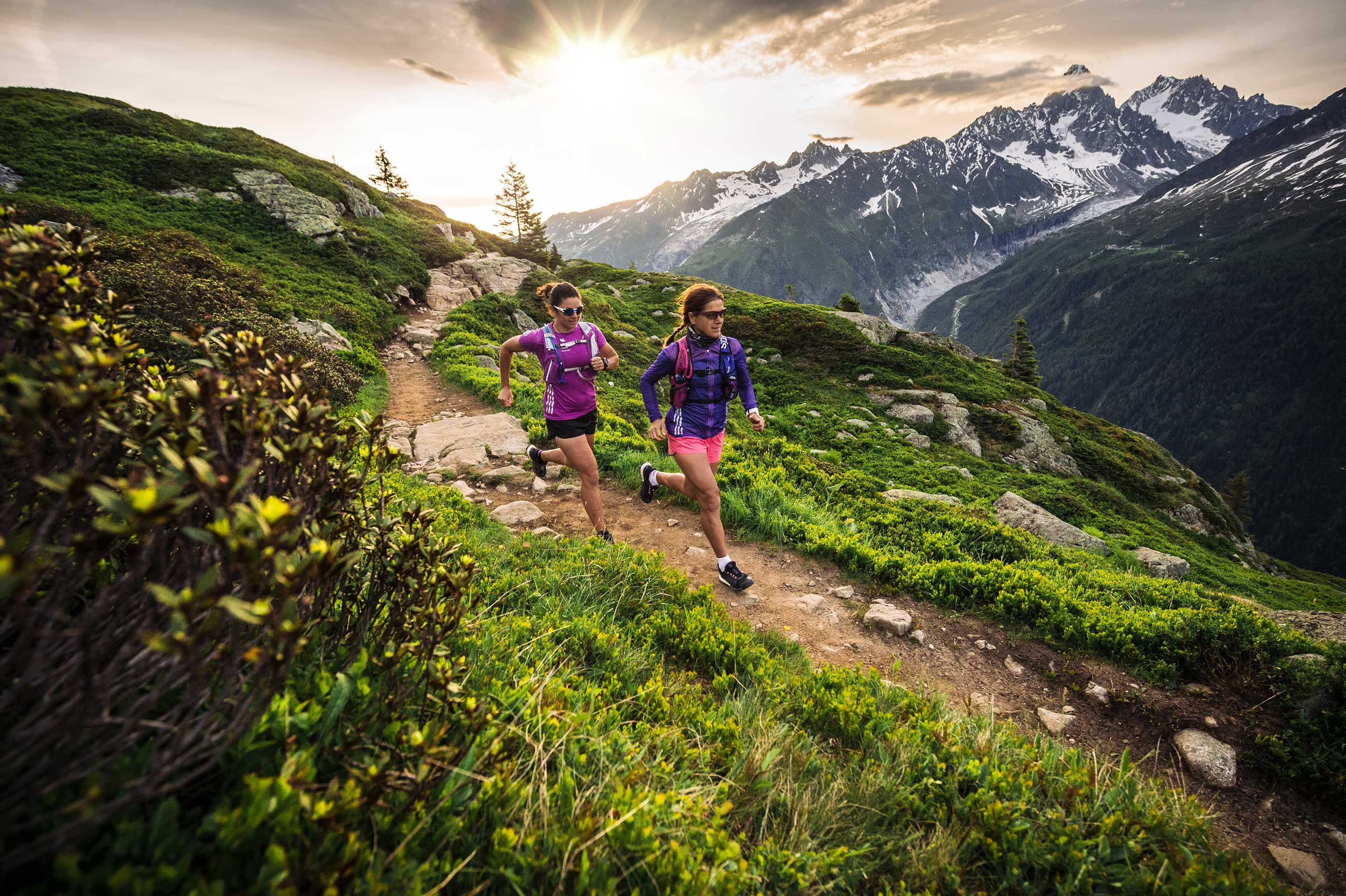 Trail running in mountains