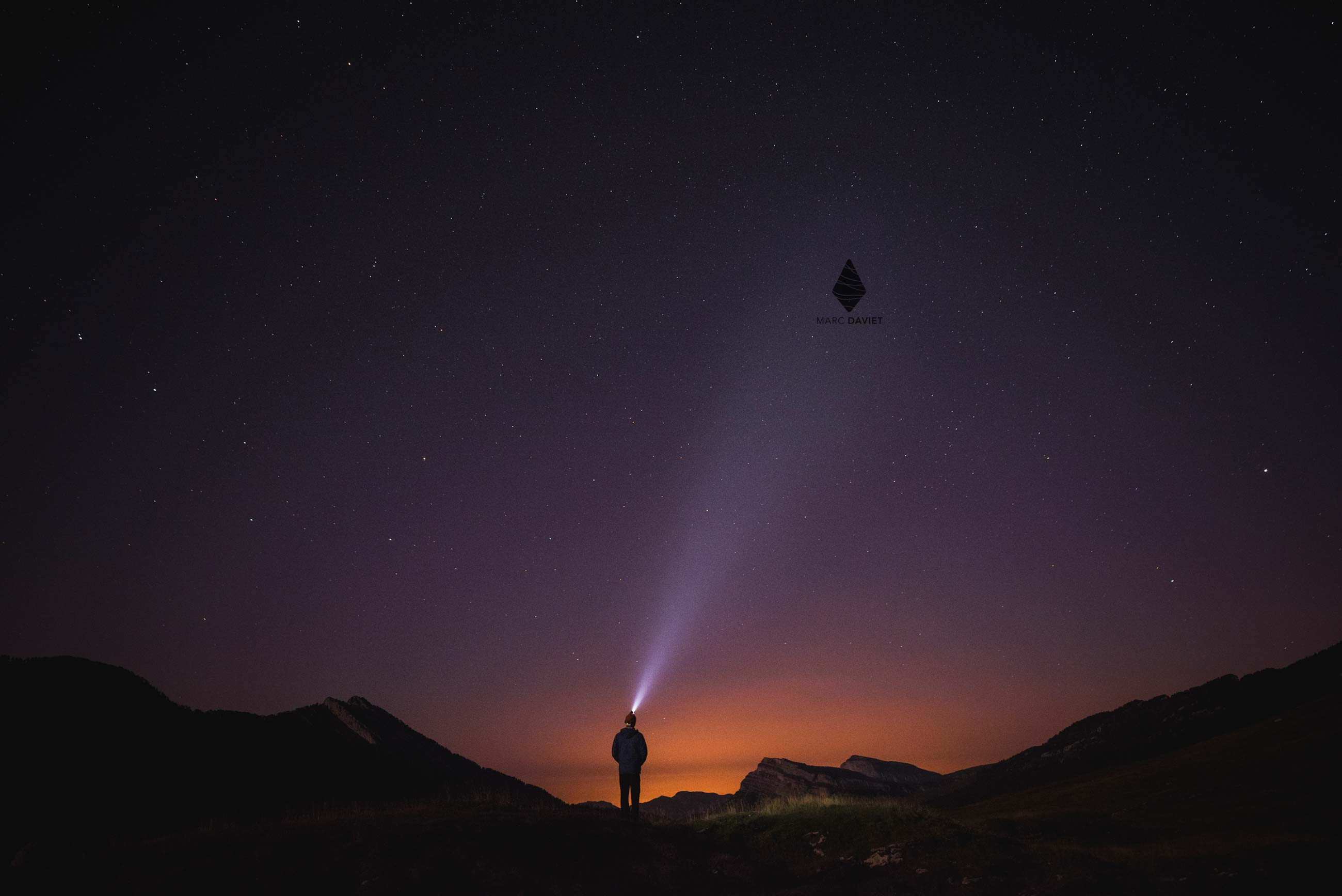 Headlamp at night - Marc Daviet Photography