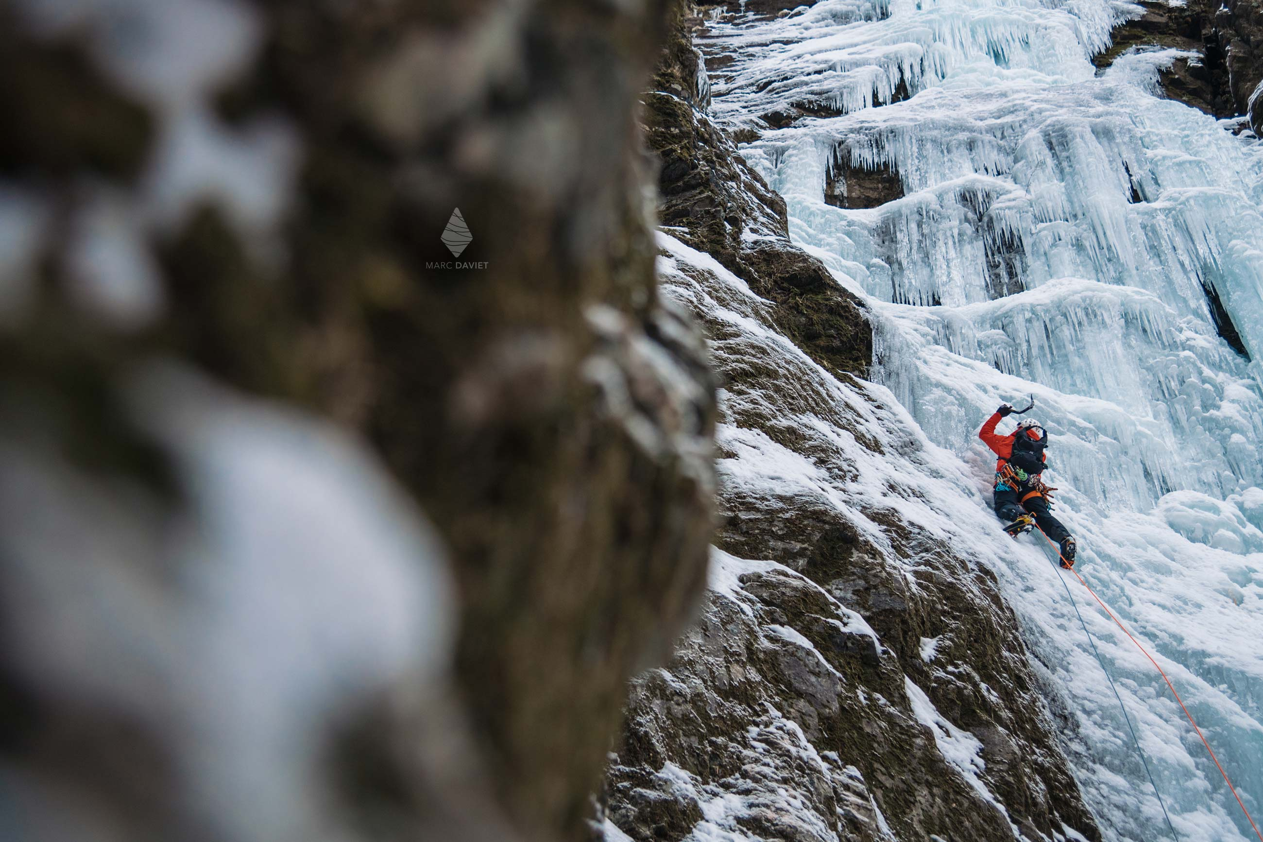 Ice fall climbing in Norway fjords